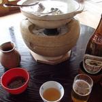 西源院 - ビールを飲みながら、湯豆腐を待った
