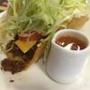 チャーリー多幸寿 - 料理写真:ビーフタコス1P@250円 スパイシーソース選択! なんて 美味しいんだろうかぁ‼️✨(n´v`n)