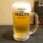 大阪ミナミのたこいち - 生ビールセット(990円)の生ビー