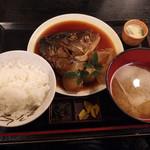 魚啓 - カンパチの頭の煮付け定食♪