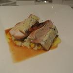 リストランテ テルツィーナ - 料理写真:知床鶏胸肉のアロースト 水牛のブルーチーズと焼きトウモロコシのリゾット