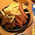 やよい軒 - 160620カットステーキ&ミニ唐揚げ490円