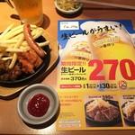 やよい軒 - 160620カットステーキ&ミニ唐揚げ490円と生ビール270円