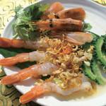 アムリタ食堂 - 夏のディナーおすすめ!海老のさしみ