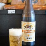 中華酒膳 聖龍 - 朝、加古川のカフェでモーニングに生ビいただきましたが、こちらでは一番搾りの大ビンをいただきます♪(2016.7.7)