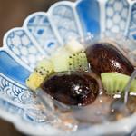 藤吉 - 2016.7 紫花豆、キウイ、葛切り(渡りガニを食べる会 6,900円)