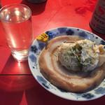 大分軒 - コップ酒(愛姫)、車麩、ねぎ袋