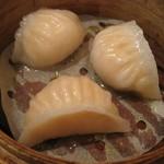 廣東飯店 - 点心:鮑と干し貝柱の蒸し餃子(3個¥600税別)
