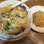 肉太郎 - 野菜タンメン&ミニ焼飯