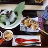 富久屋花ス五六 - 料理写真:くず切り。名物のだんごとドリンクセット。抹茶ミルク・アイス。