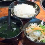 焼肉 けっさく - 料理写真:2016.7 限定石焼ステーキランチ(999円)サラダ、ライス、スープ