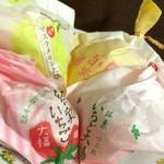 一心堂 - いちご大福(粒あん)、練乳いちご、マスクメロン大福、桃大福