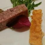 フラテッロ - 右:海老のプリン 左:豚肉のパテ
