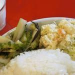 東印度カレー商会 - 今日のおばんざい=ポテサラ、夏野菜炒め(ゴーヤ、セロリ‥)