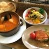 ポポット - 料理写真:Sセット(シーフードガンボスープとバーベQチキンの串焼き+スープ+パンorごはん)¥850