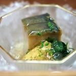 松川 - 先付 鮑 雲丹 鮑煮汁のジュレ