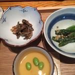 和食賛美 あやの - それぞれには小鉢も付いてます。茶碗蒸しも夏には冷製茶碗蒸しです。