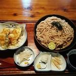 のらや - 料理写真:黒麦うどんと鱧天丼のセット
