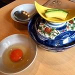 希の華 - 王卵の卵かけご飯、蓋オープン前!