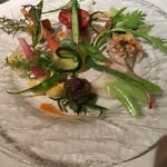 レストラン・マッカリーナ - 鮑、ボタン海老、鮟鱇と肝、鮪、地場野菜の盛り合わせ
