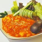 ゆるり 中華食堂 癒食同源 - 完熟トマトの海老チリソース