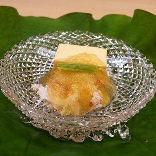 もめん - 料理写真:とうもろこしのお豆腐に毛ガニじゅれ添え