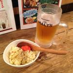 愉々家 - ちょい飲みセット780円の生ビールと小鉢