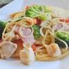 気ままな時間 - 料理写真:追加写真 2016-07-30 撮影 食事メニューのパスタ 旬野菜とホタテのペペロンチーノ(季節限定)