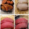 市場ずし 魚辰 - 料理写真:唐津ウニ、鮑、中トロ、上マグロ