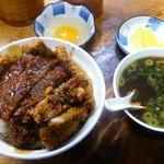 だてそば - かつ丼(850円)+獨眼流スープ(150円)