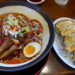 節系とんこつらぁ麺 おもと - 冷やしトマト担々麺:大盛り+餃子