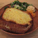 イマソラ珈琲 - チーズトーストサンドのアップ(2016.04)
