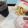 ドムドムハンバーガー - 料理写真:甘辛チキンバーガー、ポテト、アイスコーヒー。セットで590円