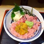鈴木水産 - 鮪中おち・ウニ丼