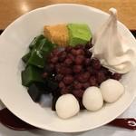 54562273 - 小豆・わらび餅・抹茶ゼリー・黒糖ゼリー・寒天・白玉・豆乳ソフトクリーム