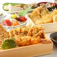 まずは…名物 日替わり地物天ぷらとお刺身コース(歓送迎会コースも受付中「河豚と天婦羅コース」)