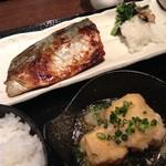 恵比寿さかなさま - アジの醤油漬け定食に出し巻き卵の天ぷら。卵焼きの天ぷらってはじめて食べた