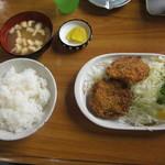 食堂 広島屋 - 食堂広島屋 メンチカツ定食