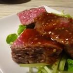肉山 福岡 - ◆ランプ・・自家製タレもいいお味ですし、お肉も柔らかく美味しい。 今回出された3種類の赤身肉の中では、一番好み。