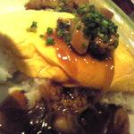 鳥乃膳 - 半熟オムレツ+鶏甘辛あん=親子丼