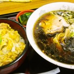 めし家あきら - カツ丼・ラーメンセット1100円(醤油)