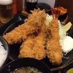 とんかつ こころ - 穴子、エビフライ定食 ¥1450