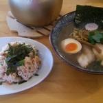 オサカナトンチャン - 魚介とんこつ 濃口(並)+しゃけマヨ半ちゃん:840円+330円