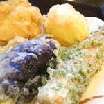 丸亀製麺 - 料理写真:鶏天¥100 半熟玉子天¥110 竹輪磯部天¥120 茄子天¥110