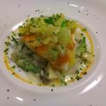 54891576 - 的鯛の蒸し煮 三浦の春キャベツと共に 山菜類のリゾット