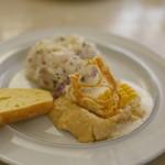 TAPiR - とうもろこしのムース(とうもろこし髭のクッキー、コーンブレッド付き)/ホタテ貝のタルタル