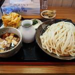 笑乃讃 - 肉汁うどん680円+大盛り100円+かき揚げ100円