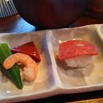 雪月花 - 近江牛赤身炙り握り寿司はこぶり