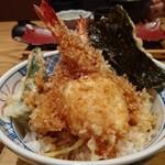 魚武 - 道後天丼(味噌汁・漬物付き)1080円