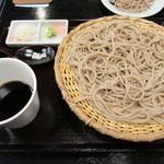 正覚 田中屋 - 料理写真:十割そば。つゆも薬味も皿そばのものとは違います。